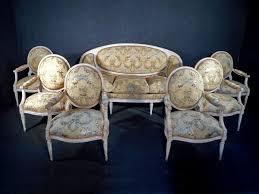 ottomane canapé salon laqué époque louis xvi six fauteuils et canapé dit en
