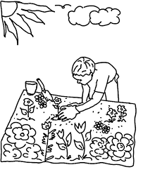 Garden Planting Seed In Flower Coloring Pages