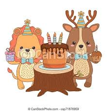 tiere mit happy birthday kuchen design