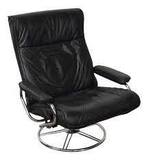 100 Modern Style Lounge Chair Kebe Black Leather MidCentury Swivel Reclining
