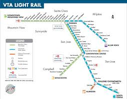 Light rail map San Jose San Jose light rail map California USA