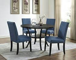 Roundhill Furniture D162BU Collection Biony Espresso Wood Dining Set With Blue Fabric Nailhead Chairs