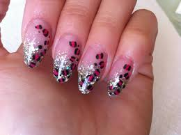 Almond Oval Acrylic Nails with Pink Leopard Print