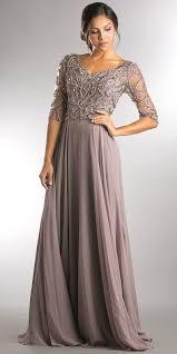 v neck beaded top half sleeves long mother of bride dress