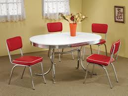 Retro 1950s Style 5PC Vintage Look Dining Set Red And Chrome Chairs