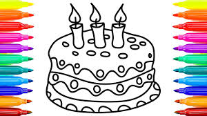 Cake Coloring Pages With Beautifu Candles