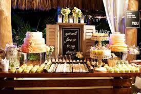 Chalkboard Sign At Outdoor Sweets Table Wedding Reception White Cake