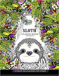 Sloth Coloring Book For Adults Animal Books Amazoncouk Adult 9781545202975
