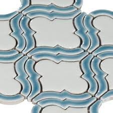 Glazzio Tiles Versailles Series by Sea Blue Frame Arabesque Porcelain Mosaic 12in X 12in