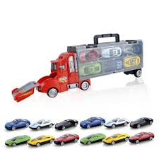 100 Toy Car Carrier Truck SilyNew Transport Rier Model Set Transporter Kids Ry Case With 12 Colorful Mini Metal Diecast SPlayset Rier Gift