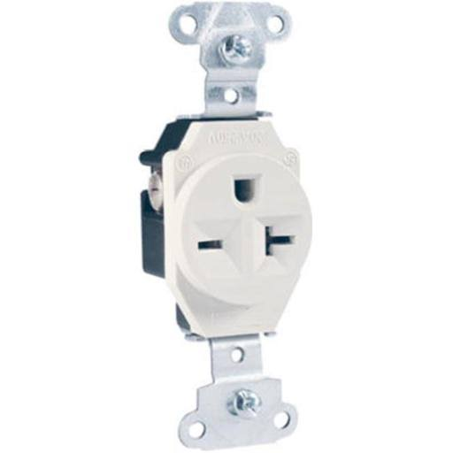 Pass and Seymour Heavy Duty Single Outlet - 20A, White
