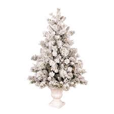 Pre Lit White Flocked Christmas Tree by Shop Ge 4 5 Ft Pre Lit Pine Flocked White Artificial Christmas
