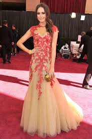 Louise Roe Red Embroidered Mermaid Blush Tulle Vintage Prom Dress Oscars 2013