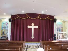 Cheap Waterfall Valance Curtains by Church Altar Curtains With Cross Appliqué Church Stage Curtains