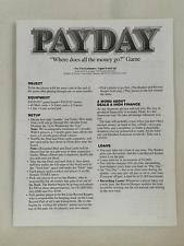Payday 1994 Board Game Replacement INSTRUCTIONS Pieces Parts Parker Bros