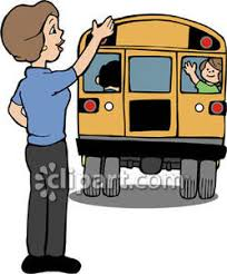 Mom Waving Goodbye To Child on a School Bus Royalty Free Clipart Picture