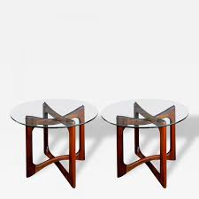 Adrian Pearsall - Pair Of Adrian Pearsall Walnut And Glass End Tables