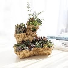 Artificial Driftwood Planter Resin Flower Pot Large Sculpture Succulent Air Plants Multilayer Irregular Hallow Out 4