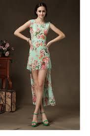 2015 chiffon jumper dress floral print short front long back