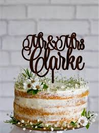 Last Name Wedding Cake Topper Wood Personalized Rustic Gold Silver