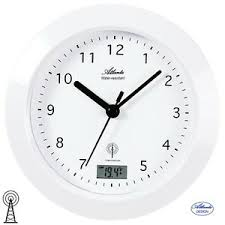 détails sur atlanta 47 horloge de salle bain radio analogue blanc badezimmer uhr thermomètre