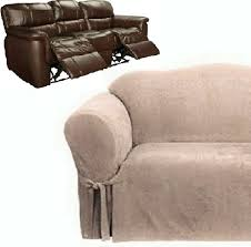 Dual Reclining Sofa Covers dual reclining sofa slipcover suede taupe surefit recliner couch cover