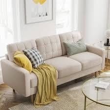 vasagle sofa fürs wohnzimmer bezug aus polyester polstermöbel für kleine wohnungen gestell und beine aus massivholz modernes design 182 x