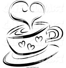 Vector Clip Art of a Black and White Steam Heart over a Coffee Cup