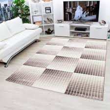 designer teppich kurzflor wohnzimmerteppich mosaik figur kariert braun