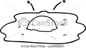 Black And White Cartoon Fried Egg Vector