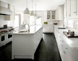 Modern White Clasic Kichen With Black Slate Floors Kitchen And Pendant For Room Decor