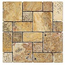 Valencia Scabos Travertine Tile by Philadelphia 2 X 4 Tumbled Travertine Brick Mosaic Tile 6 X 6