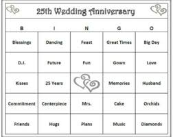 25th Anniversary Party Bingo Game 60 Cards Silver And Wedding Themed Words