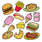Fast Food Chalkboard Junk Doodle