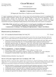 Sample Project Manager Resume Doc It Support For Trade Shows