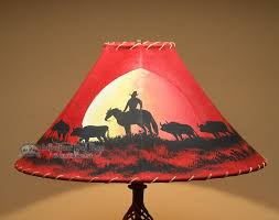 20 Painted Leather Lamp Shade Moonlight Ride PL53