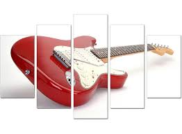 Extra Large Red White Fender Electric Guitar Music Canvas