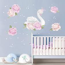 decalmile wandtattoo pfingstrose und schwan wandsticker blume kinderzimmer mädchen wandaufkleber babyzimmer schlafzimmer wanddeko