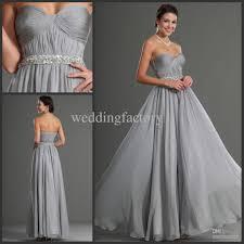 silver gray bridesmaid dresses long prom dress with beading sash