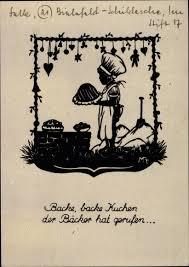 scherenschnitt ansichtskarte postkarte backe backe kuchen der bäcker hat gerufen kinderlied