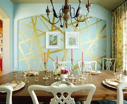 View In Gallery Eclectic Dining Room With Unique Striped Accent Wall Design Pink Door Designs