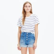 high rise denim shorts button front edition shorts madewell