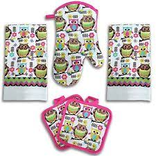 Bright Pink Owl Kitchen Decor 5 Piece Linen Set 2 Towels Potholders