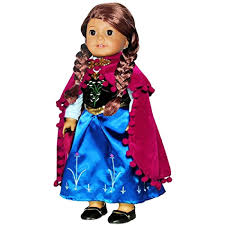 Doll Clothes Princess Anna Dress Outfit Embroidered Fits 18 Inch