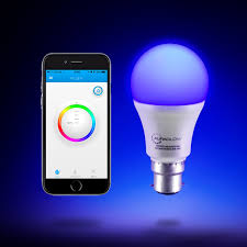 auraglow 9w bluetooth colour changing led smart light bulb b22