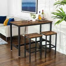 vasagle bartisch lbt15x lbt015b02 set 3 st mit 2 barhockern esstisch set vintage