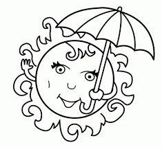 Summer Coloring Book Pages Umbrella Free Printable Kipper