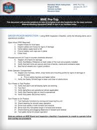 100 Truck Pre Trip Inspection Checklist Standard Work Instruction MHE Ppt Download