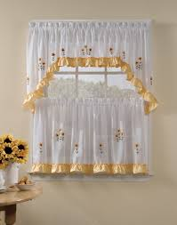 Kitchen Curtain Ideas With Blinds by Kitchen Window Curtain Ideas Beige Striped Fabric Windows Blinds