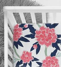 floral baby bedding navy coral and pink peony fitted crib